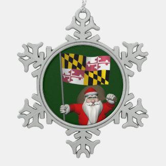Papá Noel alegre que visita Maryland Adorno De Peltre En Forma De Copo De Nieve