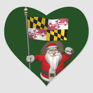 Papá Noel alegre que visita Maryland Pegatina En Forma De Corazón