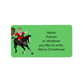 Papá Noel ama caballos negros Etiquetas De Dirección