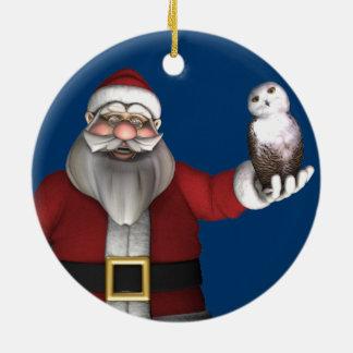Papá Noel ama el búho Nevado Adorno Navideño Redondo De Cerámica