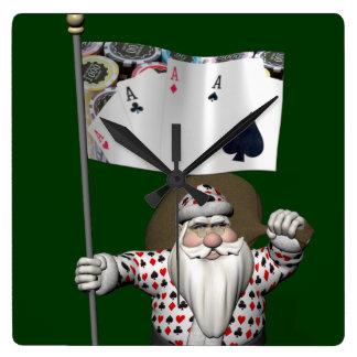 Papá Noel ama el jugar del póker Reloj Cuadrado