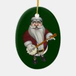 Papá Noel ama su banjo Adorno Ovalado De Cerámica