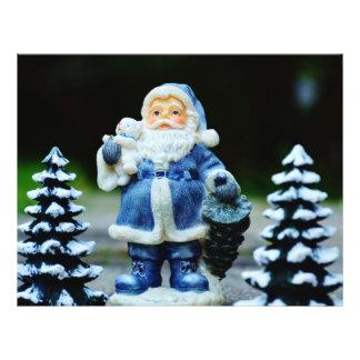 """Papá Noel azul Folleto 8.5"""" X 11"""""""