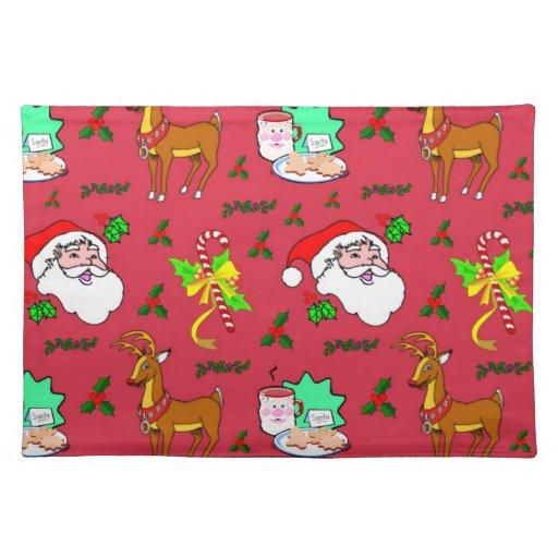Papá Noel - bastones del reno y de caramelo Manteles Individuales