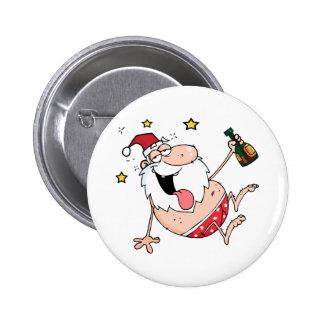 Papá Noel borracho Pin Redondo De 2 Pulgadas