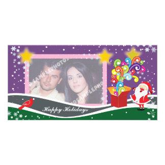 Papá Noel, caja de regalo y tarjetas cardinales de Tarjeta Personal Con Foto