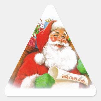 Papá Noel - comprobación de su lista Pegatina Triangular