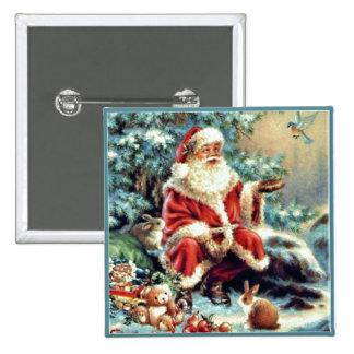 Papá Noel con el botón de Chirstmas de los Pin Cuadrado