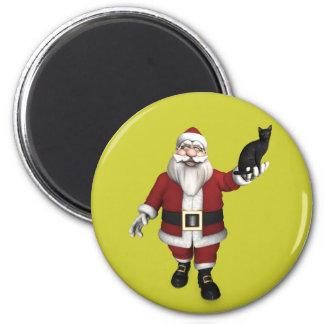 Papá Noel con el gato negro Imán Redondo 5 Cm