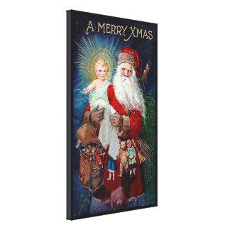 Papá Noel con el niño de Cristo Impresión En Lienzo