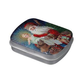 Papá Noel con el niño de Cristo Latas De Dulces