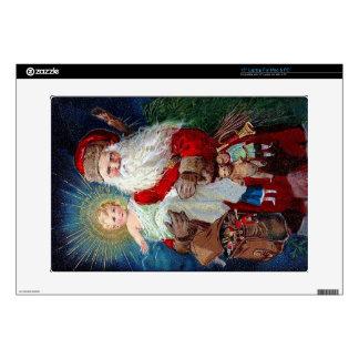 Papá Noel con el niño de Cristo Calcomanías Para Portátiles