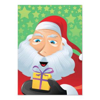 """Papá Noel con el presente Invitación 5"""" X 7"""""""