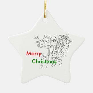 Papá Noel con el reno, Felices Navidad Adorno Navideño De Cerámica En Forma De Estrella