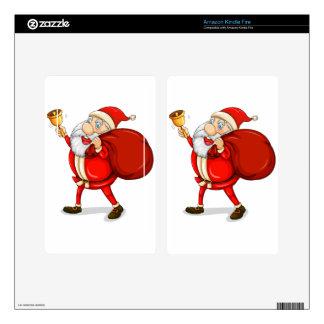 Papá Noel con el suyo saco por completo de regalos Kindle Fire Pegatinas Skins