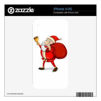 Papá Noel con el suyo saco por completo de regalos Skin Para El iPhone 4S