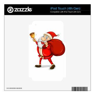 Papá Noel con el suyo saco por completo de regalos Skins Para iPod Touch 4G