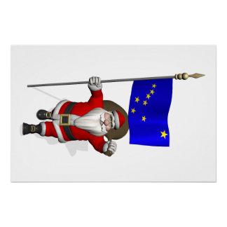Papá Noel con la bandera de Alaska Perfect Poster