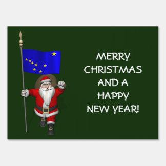 Papá Noel con la bandera de Alaska Señal