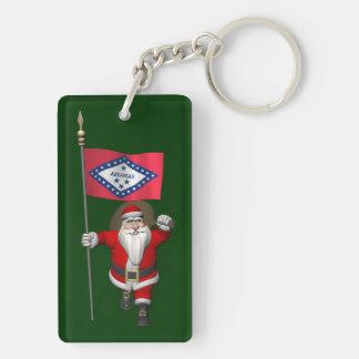 Papá Noel con la bandera de Arkansas Llavero Rectangular Acrílico A Doble Cara