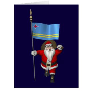 Papá Noel con la bandera de Aruba Felicitacion