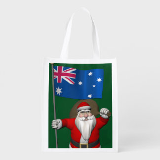 Papá Noel con la bandera de Australia Bolsa Para La Compra