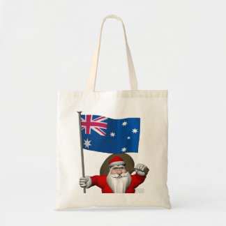 Papá Noel con la bandera de Australia Bolsa Tela Barata