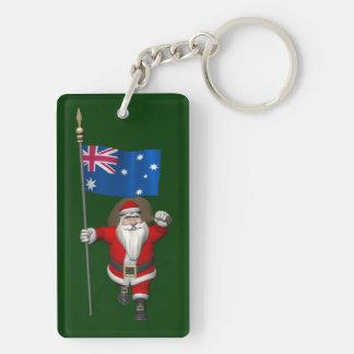 Papá Noel con la bandera de Australia Llavero Rectangular Acrílico A Doble Cara