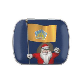 Papá Noel con la bandera de Bali Jarrones De Dulces