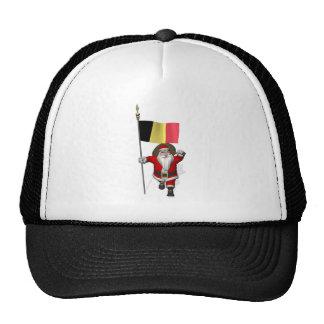 Papá Noel con la bandera de Bélgica Gorras