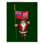 Papá Noel con la bandera de Bermudas Tarjeta De Felicitación Grande