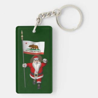Papá Noel con la bandera de California Llavero Rectangular Acrílico A Doble Cara
