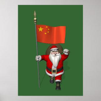 Papá Noel con la bandera de China Posters