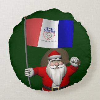 Papá Noel con la bandera de Cleveland