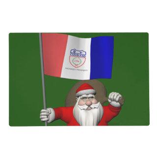 Papá Noel con la bandera de Cleveland Tapete Individual