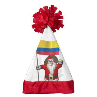 Papá Noel con la bandera de Colombia
