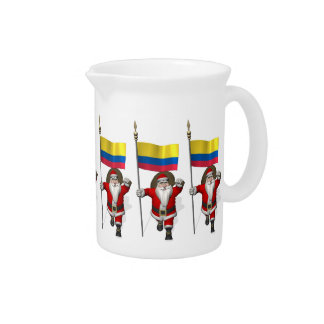 Papá Noel con la bandera de Colombia Jarra De Beber