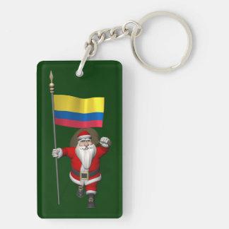 Papá Noel con la bandera de Colombia Llavero Rectangular Acrílico A Doble Cara