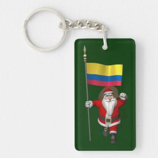 Papá Noel con la bandera de Colombia Llavero Rectangular Acrílico A Una Cara