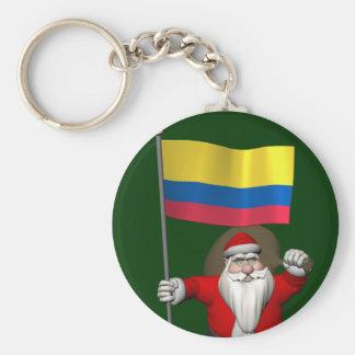 Papá Noel con la bandera de Colombia Llavero Redondo Tipo Pin