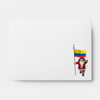 Papá Noel con la bandera de Colombia Sobre