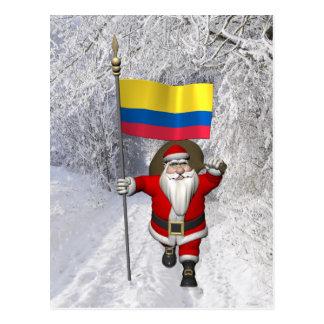 Papá Noel con la bandera de Colombia Tarjeta Postal