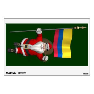 Papá Noel con la bandera de Colombia Vinilo Adhesivo