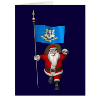 Papá Noel con la bandera de Connecticut Tarjetón