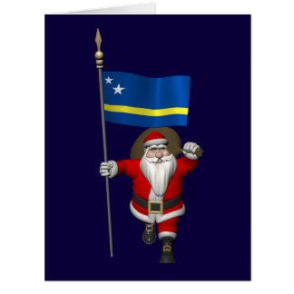 Papá Noel con la bandera de Curaçao Tarjeta