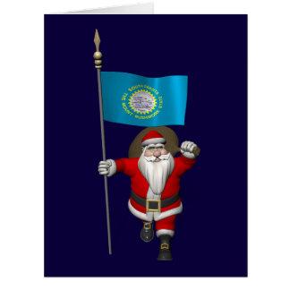 Papá Noel con la bandera de Dakota del Sur Tarjeta De Felicitación Grande