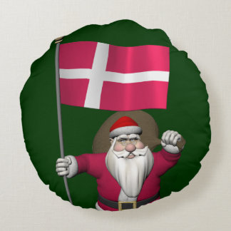 Papá Noel con la bandera de Dinamarca Dannebrog Cojín Redondo