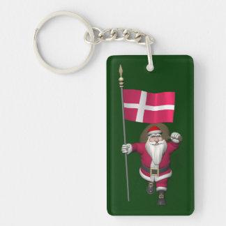 Papá Noel con la bandera de Dinamarca Dannebrog Llavero Rectangular Acrílico A Una Cara