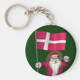 Papá Noel con la bandera de Dinamarca Dannebrog Llavero Redondo Tipo Pin
