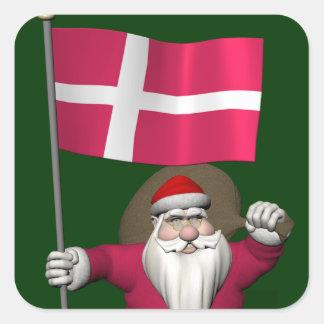 Papá Noel con la bandera de Dinamarca Dannebrog Pegatina Cuadrada